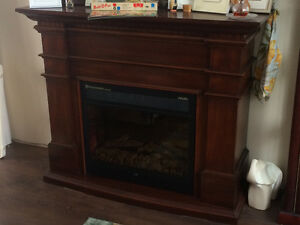 Mahogany Wood Electric Fireplace