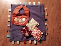 Leather bib, tagg blanket and hand crafted bean bags