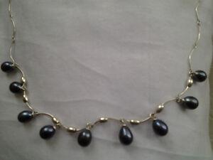 collier + boucles oreilles Perles veritablse et sterling silver