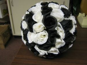 Black & White Silk Rose Balls