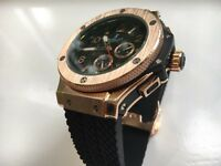 NEW HUBLOT BIG BANG ROSE GOLD 18k 24k DIAMOND FOSSIL ROLEX HERMES CHANEL DIOR CHRONOGRAPH MENS D1