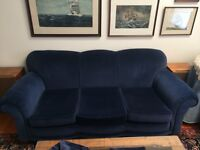 Royal blue velvet couch and chair in excellent condition