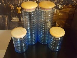 4 piece blue glass canister set