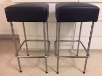 2 X Black Leather and Stainless Steel Bar Stools