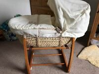 Mamas & Papas Moses basket with wooden rocking stand