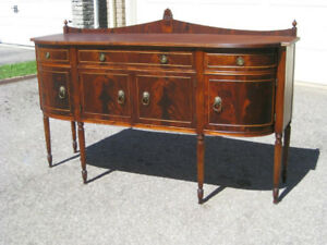 Exquisite Antique Flame Mahogany Bow Front Sideboard / Buffet