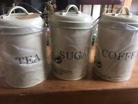 Kitchen tea coffee and sugar tins / canisters