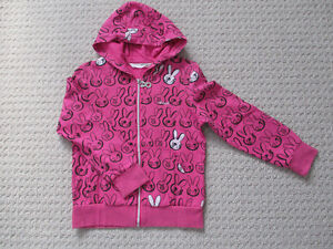 Girl's Jacket - Pink with Rabbit Pattern - Size 4-5 - Like New