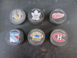 HOF ORIGINAL 6 HOCKEY PUCKS Peterborough Peterborough Area image 1