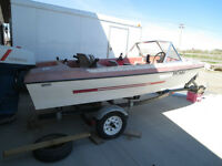14' Glascon Fiberglass with windshild, motor and trailer