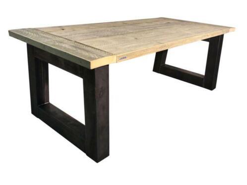 ≥ industriële tafel stalen onderstel met een dik steigerpla
