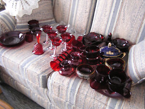 Sale Large Collection of Vintage Ruby Red Glassware