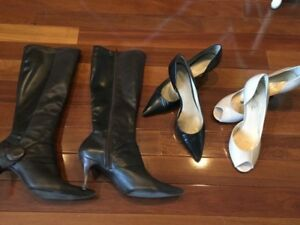 Women's size 10 boots and high heel shoes