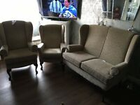 Sofa and arm chairs. Winged back 3 piece set