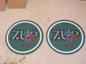 Superman 7Up drink coasters