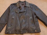 Topshop grey leather jacket size 12