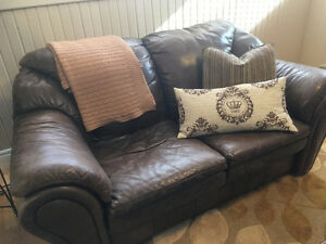 Leather Love Seat $225 and Full size Sofa $275