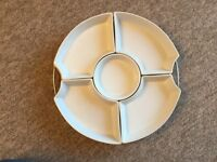 Lazy Susan with white ceramic dishes