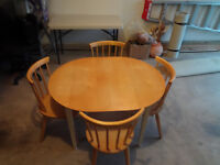 Wooden Kitchenette / Dining Room Table (with folding leaf)