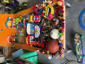 Various kids toys and books