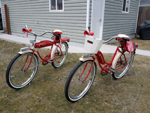 STUNNING WESTERN FLYER SET OF 2 RED BICYCLES