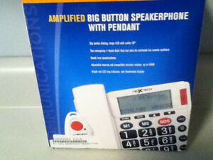 AMPLIFIED BIG BUTTON SPEAKERPHONE WITH EMERGENCY PENDANT