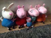 PEPPA PIG cuddly toy / plush set. PEPPA, GEORGE, MUMMY PIG, DADDY PIG & RICHARD RABBIT