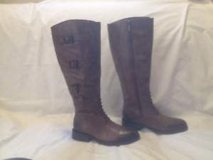 New Vince Camuto Tall Sienna Brown Leather Riding Style Boots 6M