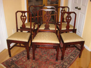 ** 3 Sets Antique / Vintage Solid Mahogany Dining Chairs, A1 **