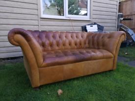 John lewis cambridge chesterfield tan leather 2 seater sofa