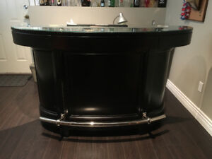 Stylish Wooden Bar with brass foot rest (excellent condition)