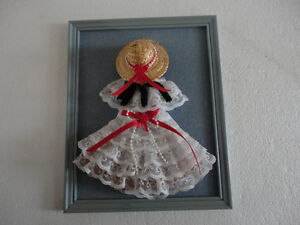 HANDMADE VINTAGE LACE DOLL DECORATIVE COLLECTIBLE WALL HANGING