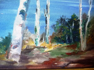 "Original Oil Painting by Mrs. Jack Douglas ""Owen Sound"" 1950 Stratford Kitchener Area image 5"