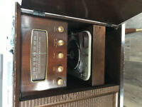 Antique record player and combo radio