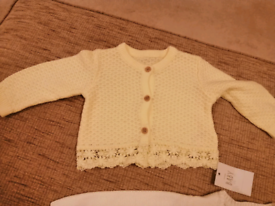 2 CARDIGANS AGED 3 TO 6 MONTHS GIRLS