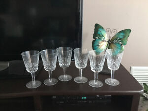 Set of 6 Lismore Waterford wine goblets