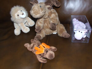 RARE TY BEANIE BABY, TY MOOSE, GUND LION AND BEAR BY MIDWEST