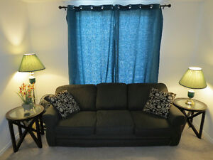 Sofa, coffee tables, stand lamps, curtain for sale.