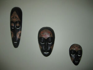 3 Antique African Tribal Style Mask Wall Hanging Decors…