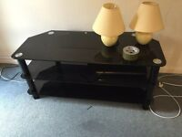 Black glass tv unit, free to collect