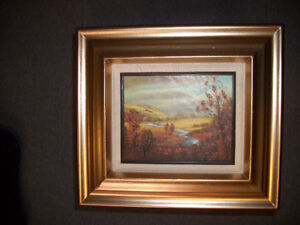 Vintage Painting Matted & Framed in Solid Wood Frame