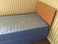 Single bed with headboard and mattress in excellent condition