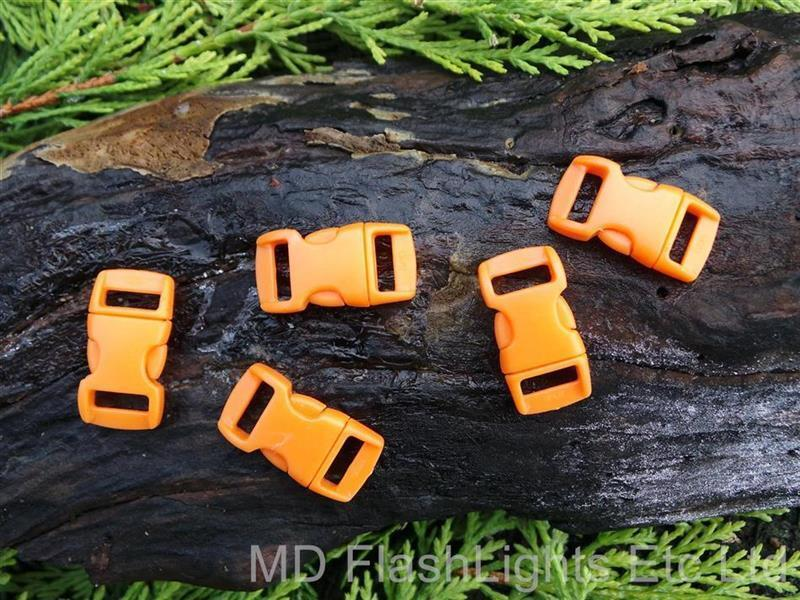 "10 pcs X 10mm 3//8/"" Survival Paracord Curved Side Release Buckles Orange"