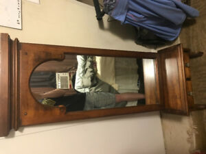 Antique wall mirror with drawer