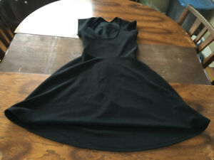 Black skater dress, cutout back, junior's large Simon's/Twik NEW
