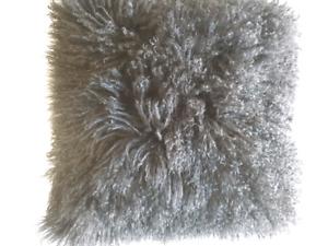 Black Mongolian fur cushion