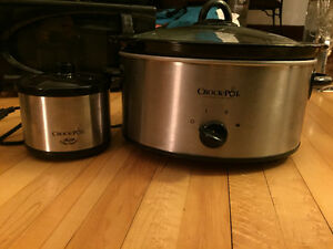 Crock pot with warmer
