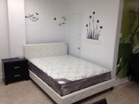 QUEEN BED FRAME IN WHITE LEATHER &PEARLS SPRING SLATS INCLUED