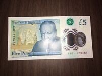 AA01 SERIAL NUMBER £5 POUND NOTE. PLASTIC. POLYMER.