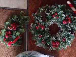 2 Christmas plastic wreaths, candy canes, Ivy Kitchener / Waterloo Kitchener Area image 3